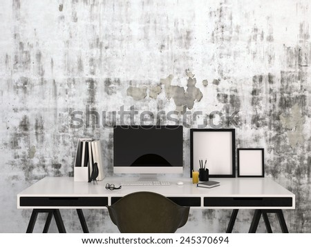 3D Rendering of Stylish black and white home work space with a desktop computer and blank picture frames on a modern elegant desk with office supplies