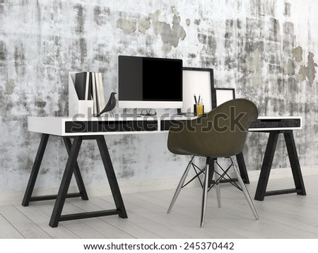 3D Rendering of Stylish modern black and white office interior with a trestle desk with desktop computer, files and photo frames against an abstract grey wall with a contemporary modular black chair