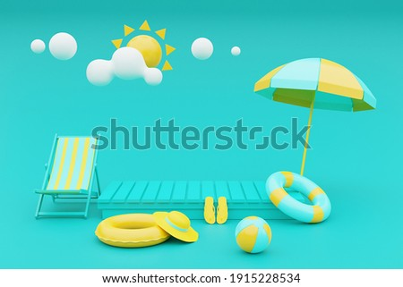 3d rendering of summer vacation concept with beach chair,umbrella and summer elements.3d rendering.