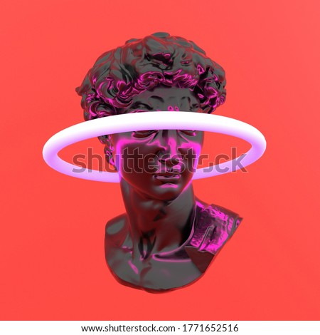 3D rendering of surreal futuristic scene with sculpture and neon ring around it. Bust made of glossy reflective material. Vaporwave and synthwave style illustration.