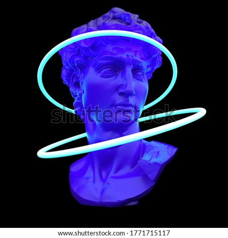 3D rendering of surreal futuristic scene with sculpture and neon ring around it. Vaporwave and synthwave style illustration.