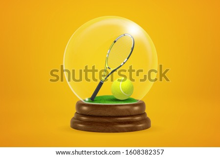 3d rendering of tennis ball and racket inside snow globe on amber background. Sports and hobbies. Sports equipment. Sports souvenirs.