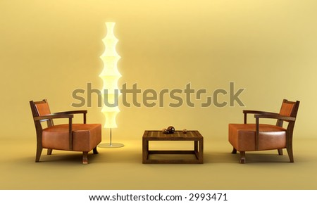 3d rendering of the asian lounge room