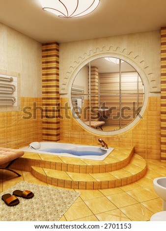 3d rendering of the bathroom interior in Morocco's style