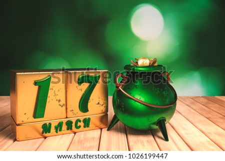 3d rendering of the block calendar 17 March for St Patrick's Day and a big green metal pot full of golden coins on wooden floor with green bokeh background.