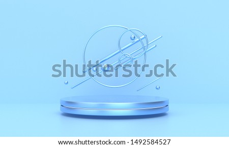 3D rendering of the blue geometric background can be used for commercial advertising