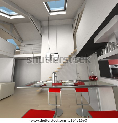3D rendering of the dining area in an impressive loft