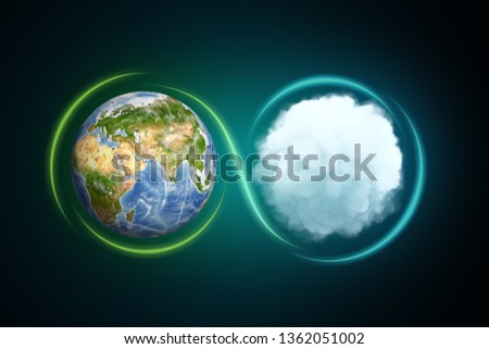 3d rendering of the Earth next to a white round fluffy cloud with a light line traced around them forming an infinity sign. Sustainability awareness. Global thinking. Nature conservation.