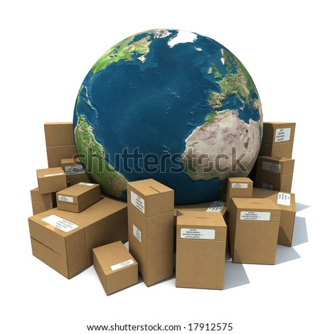 3D rendering of the Earth with a heap of cardboard boxes