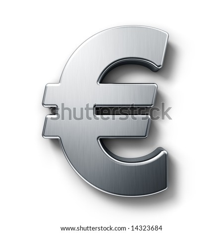 3d rendering of the euro sign in brushed metal on a white isolated background. - stock photo
