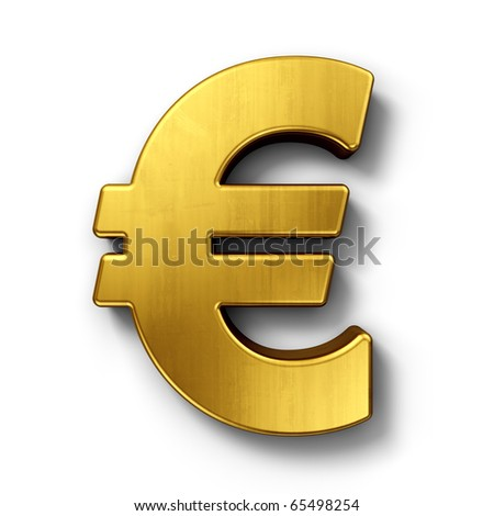 3d rendering of the euro sign in gold on a white isolated background.