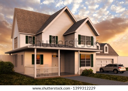 3D rendering of the exterior of  a house