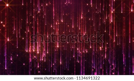 3D rendering of the falling of bright particles. Starfall on a dark background with shiny and glowing asterisks. Perfect bright and glamorous background for festive and solemn compositions