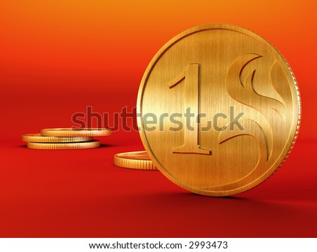 3d rendering of the golden coins