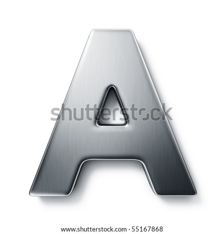 3d rendering of the letter A in brushed metal on a white isolated background. stock photo