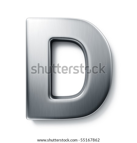 3d rendering of the letter D in brushed metal on a white isolated background.