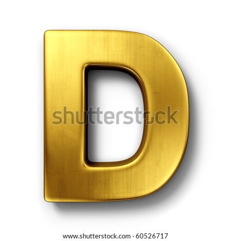 3d rendering of the letter D in gold metal on a white isolated background. Zdjęcia stock ©