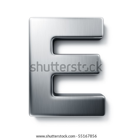 3d rendering of the letter E in brushed metal on a white isolated background. stock photo