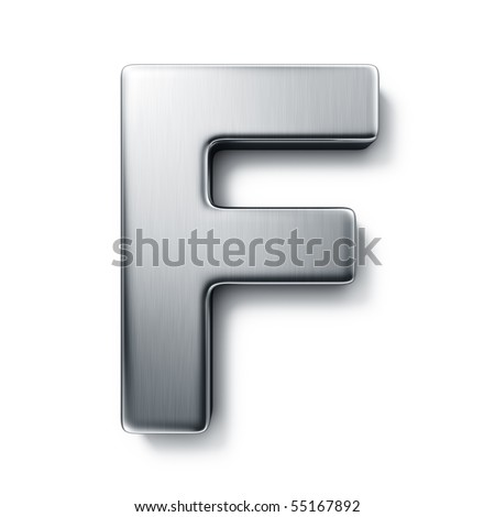 3d rendering of the letter F in brushed metal on a white isolated background.