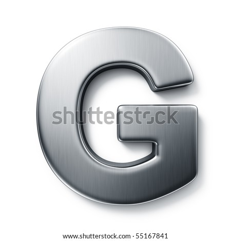3d rendering of the letter G in brushed metal on a white isolated background. stock photo