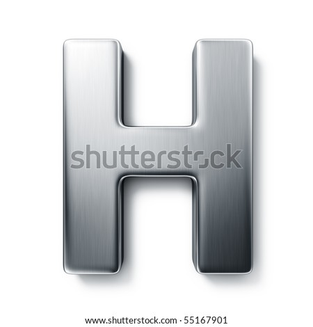 3d rendering of the letter H in brushed metal on a white isolated background. stock photo