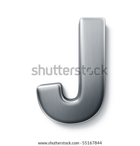 3d rendering of the letter J in brushed metal on a white isolated background. stock photo
