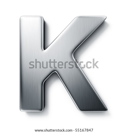 3d rendering of the letter K in brushed metal on a white isolated background. stock photo