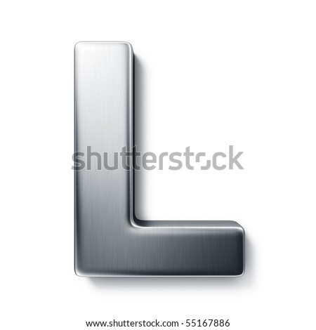 3d rendering of the letter L in brushed metal on a white isolated background. stock photo