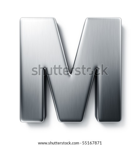 3d rendering of the letter M in brushed metal on a white isolated background. stock photo