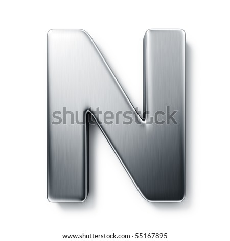 3d rendering of the letter N in brushed metal on a white isolated background. stock photo