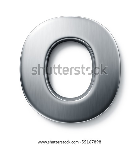 3d rendering of the letter O in brushed metal on a white isolated background. stock photo