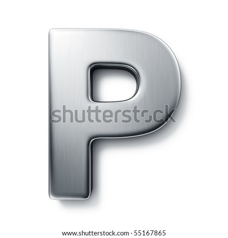 3d rendering of the letter P in brushed metal on a white isolated background. stock photo