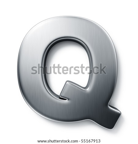 3d rendering of the letter Q in brushed metal on a white isolated background.