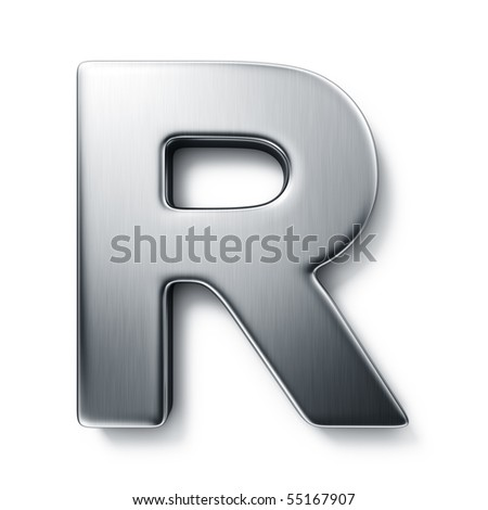 3d rendering of the letter R in brushed metal on a white isolated background. stock photo