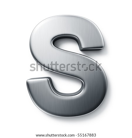 3d rendering of the letter S in brushed metal on a white isolated background.