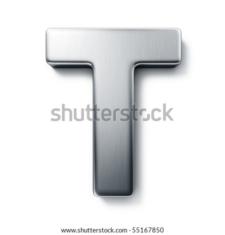 3d rendering of the letter T in brushed metal on a white isolated background. stock photo