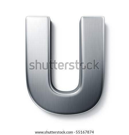3d rendering of the letter U in brushed metal on a white isolated background. stock photo