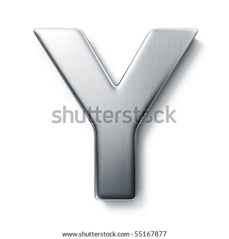 3d rendering of the letter Y in brushed metal on a white isolated background.