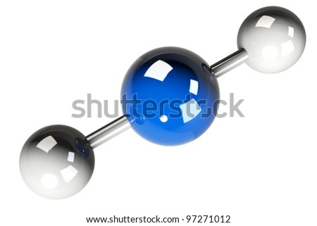 3D rendering of the model of the carbon dioxide molecule ( CO2 ) on white background