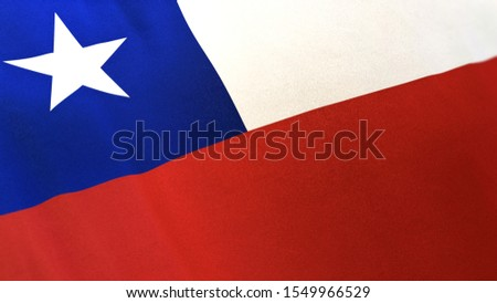 3D rendering of the national flag of Chile waving in the wind. The banner/emblem is made of realistic satin texture and rendered in a daylight situation.
