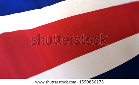 3D rendering of the national flag of Costa Rica waving in the wind. The banner/emblem is made of realistic satin texture and rendered in a daylight situation.