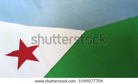 3D rendering of the national flag of Djibouti waving in the wind. The banner/emblem is made of realistic satin texture and rendered in a daylight situation.