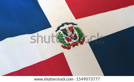 3D rendering of the national flag of Dominican Republic waving in the wind. The banner/emblem is made of realistic satin texture and rendered in a daylight situation.