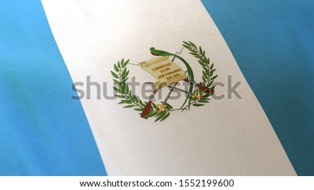 3D rendering of the national flag of Guatemala waving in the wind. The  banner/emblem is made of realistic satin texture and rendered in a daylight situation.