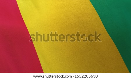 3D rendering of the national flag of Guinea waving in the wind. The  banner/emblem is made of realistic satin texture and rendered in a daylight situation.