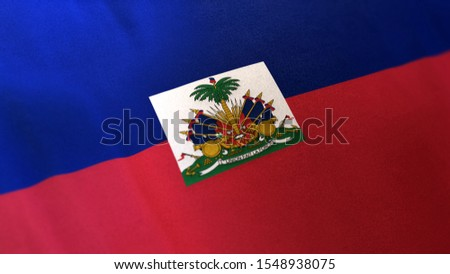 3D rendering of the national flag of Haiti waving in the wind. The banner/emblem is made of realistic satin texture and rendered in a daylight situation.