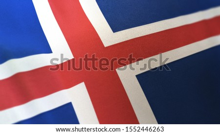 3D rendering of the national flag of Iceland waving in the wind. The banner/emblem is made of realistic satin texture and rendered in a daylight situation.