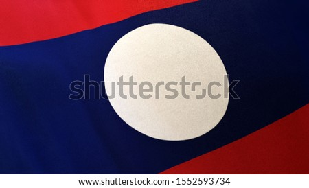 3D rendering of the national flag of Laos waving in the wind. The banner/emblem is made of realistic satin texture and rendered in a daylight situation.