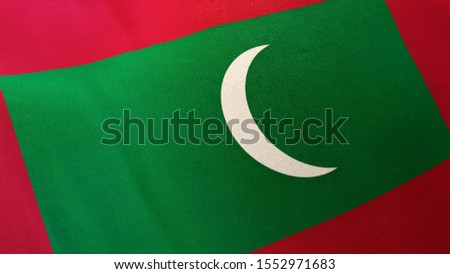 3D rendering of the national flag of Maldives waving in the wind. The banner/emblem is made of realistic satin texture and rendered in a daylight situation.