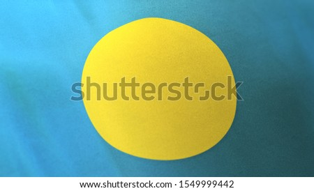 3D rendering of the national flag of Palau waving in the wind. The banner/emblem is made of realistic satin texture and rendered in a daylight situation.